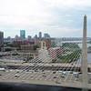 Aerial drone video Boston Leonard P. Zakim Bunker Hill Bridge 4k 60p