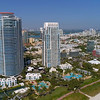 Aerial video highrise buidlings at South Pointe Miami Beach 4k 60p
