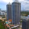 Aerial video beachfront skyscrapers Miami Beach