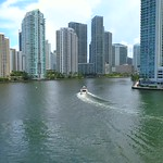 Aerial video of Downtown Miami Brickell Key and Miami River 4k 60p