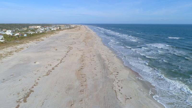 Aerial St Augustine Beach coastline 4k 60p