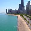 Aerial video Oak Street Beach Chicago