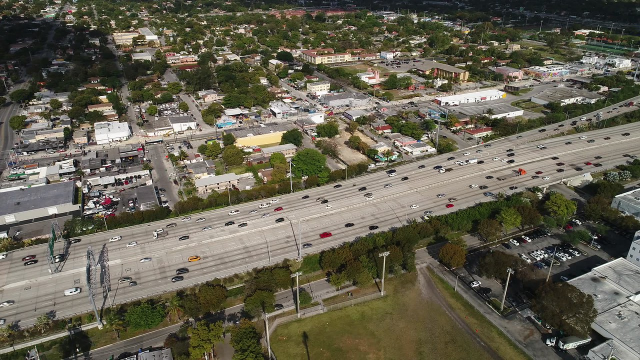 Aerial video of Traffic on I95 Miami