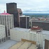 Aerial video of highrise bank buildings Downtown Louisville Kentucky