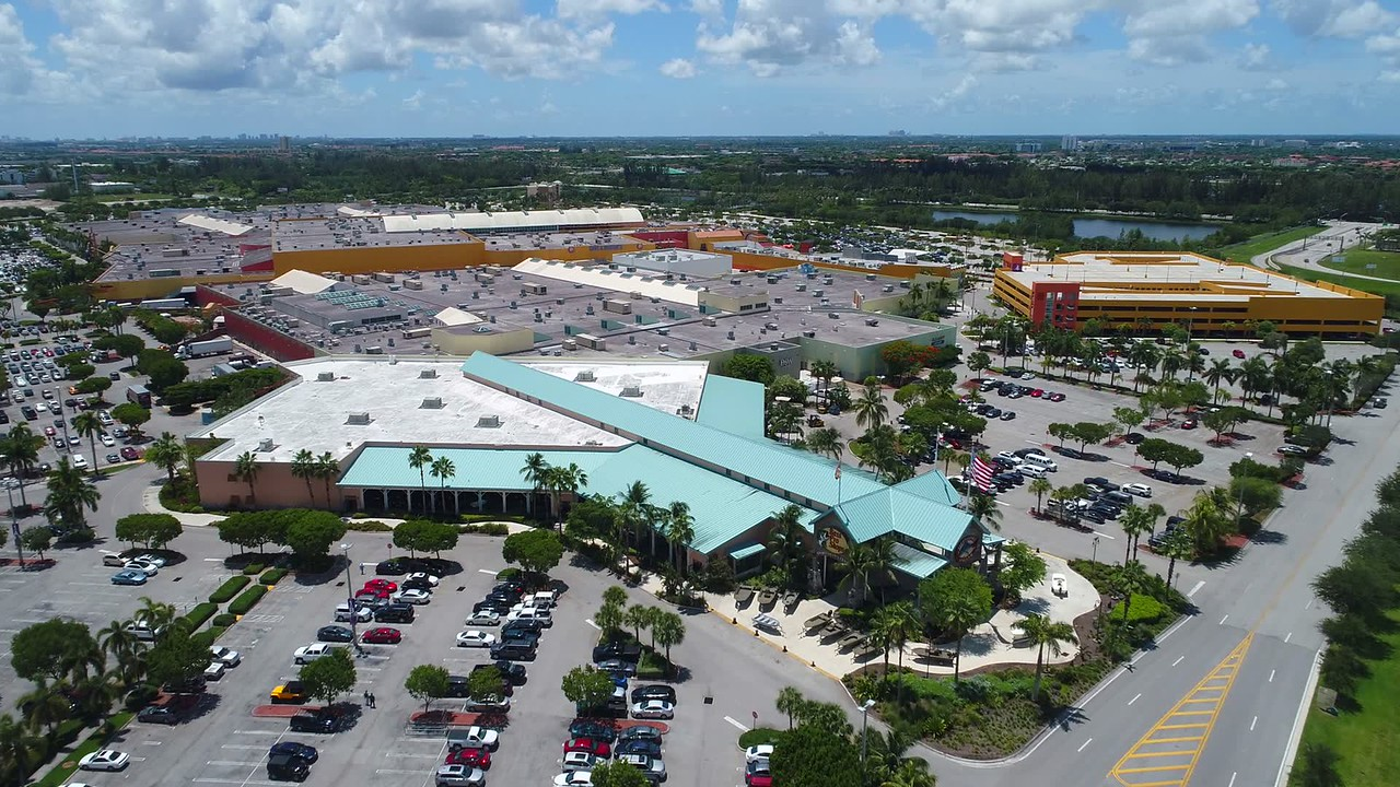 Aerial video Dolphin Mall Miami rooftop flyover