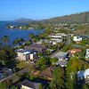 Aerial Hawaii luxury waterfront mansions 4k 30p
