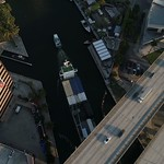 Aerial drone video industrial ship in the Miami River
