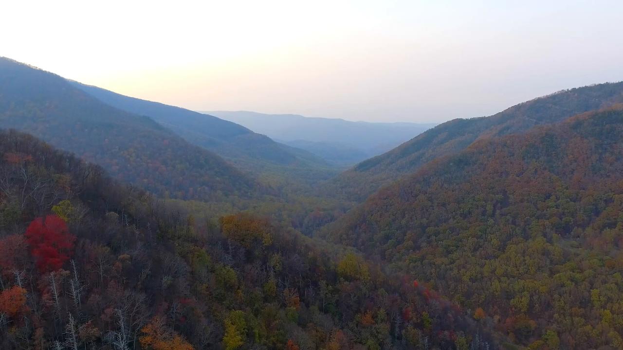 Aerial footage Smokey Mountains valley  4k