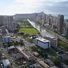 Aerial drone footage Honolulu and Ala Wai Canal 4k