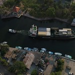 Aerial video of a cargo ship in the Miami River