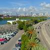 Aerial shot Terminal Island Miami Beach and power plant