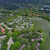 Aerial video of residential homes in Plantation Florida