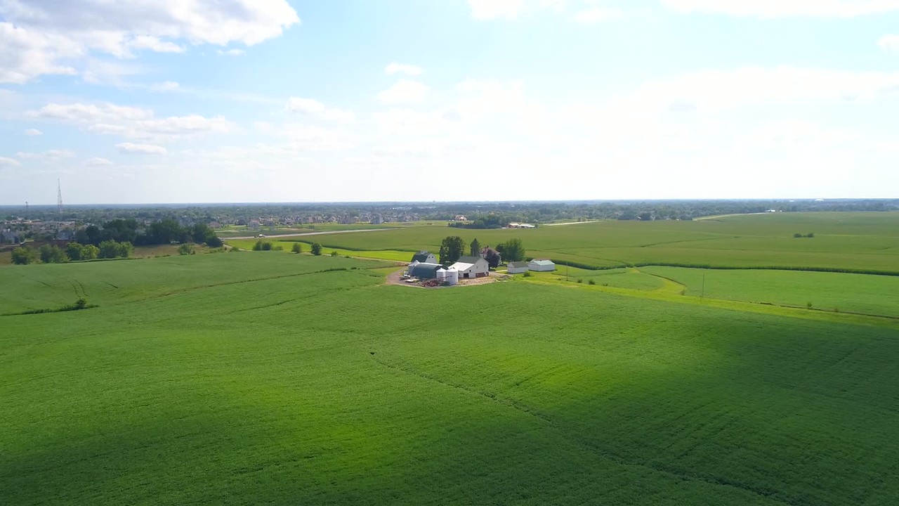 Aerial video Bettendorf Iowa farmland agriculture 4k 60p
