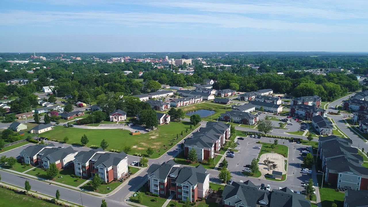 Aerial drone video of Fayetteville North Carolina 4k