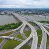 AErial drone shot of the Ohio River with bridges