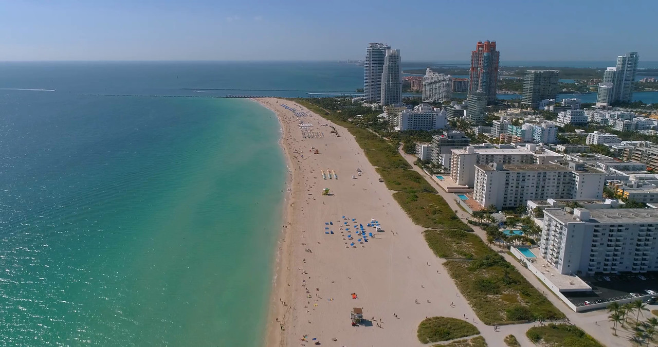 Aerial video of vibrant color Miami Beach
