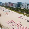 Miami Beach chairs aerial drone video