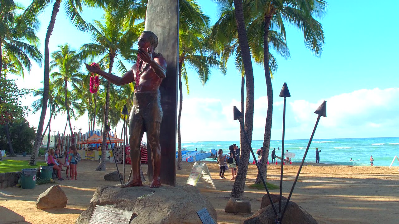 Stock video of Statue Duke Paoa Kahanamoku Hawaii 4k