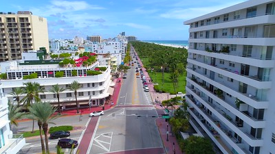 Aerial view Miami Beach motion footage