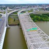 Aerial drone video Ohio River to Downtown Louisville KY