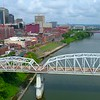 Aerial video Riverwalk Nashville Cumberland River 4k 60p