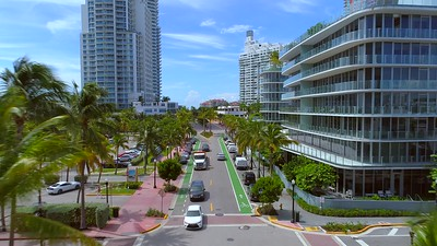 Aerial video South Pointe Drive and Ocean Miami Beach