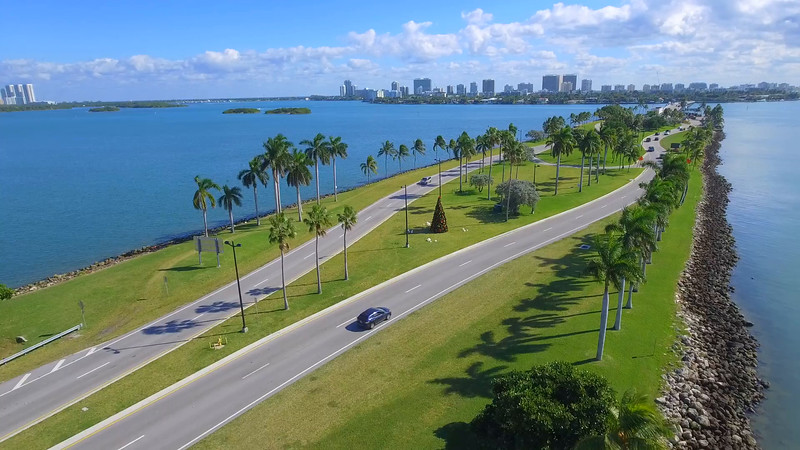 Aerial Broad Causeway to Miami Beach