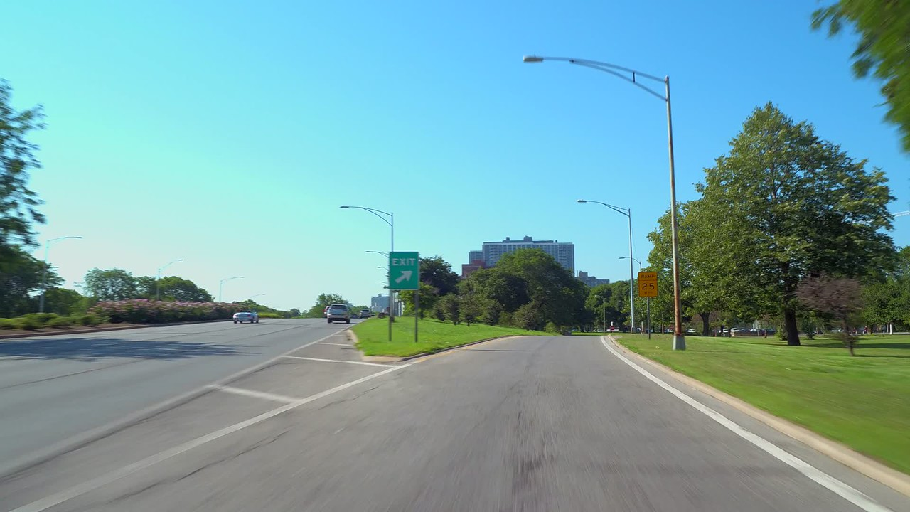 Driving lake shore drive Chicago exit Wilson Avenue