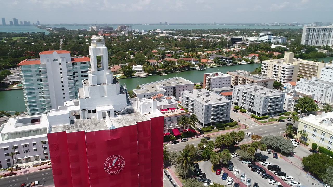 Aerial footage Faena District Miami Beach