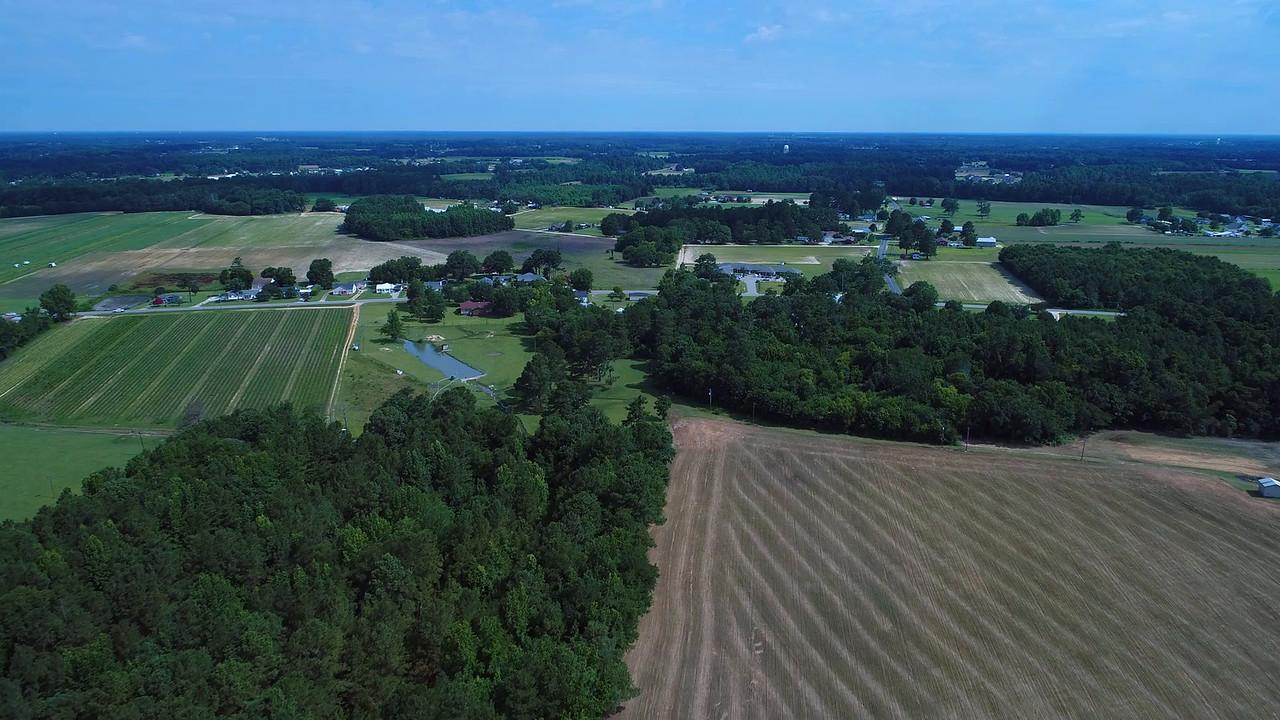 Aerial north Carolina rural farmland landscape 4k prores