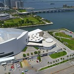 Aerial drone video orbiting around the American Airlines Arena 4k