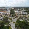Aerial video Downtown Hollywood arts district Florida