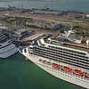 Aerial video of Carnival Vista cruise ship Port Miami 4k