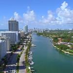 Aerial drone video Miami Beach Condominiums 4k 24p