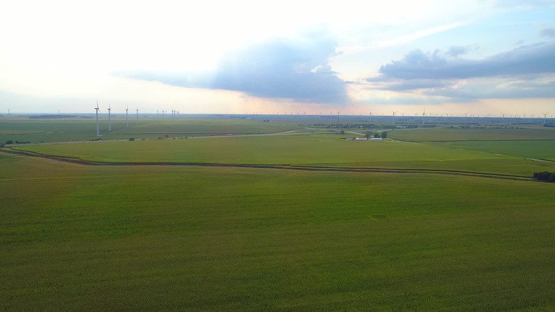 Aerial video of wind farms in Indiana USA