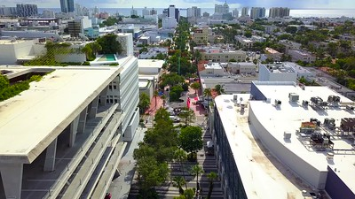 Aerial video Lincoln Road Miami Beach