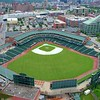 Aerial flyover Louisville Slugger Stadium 4k 60p