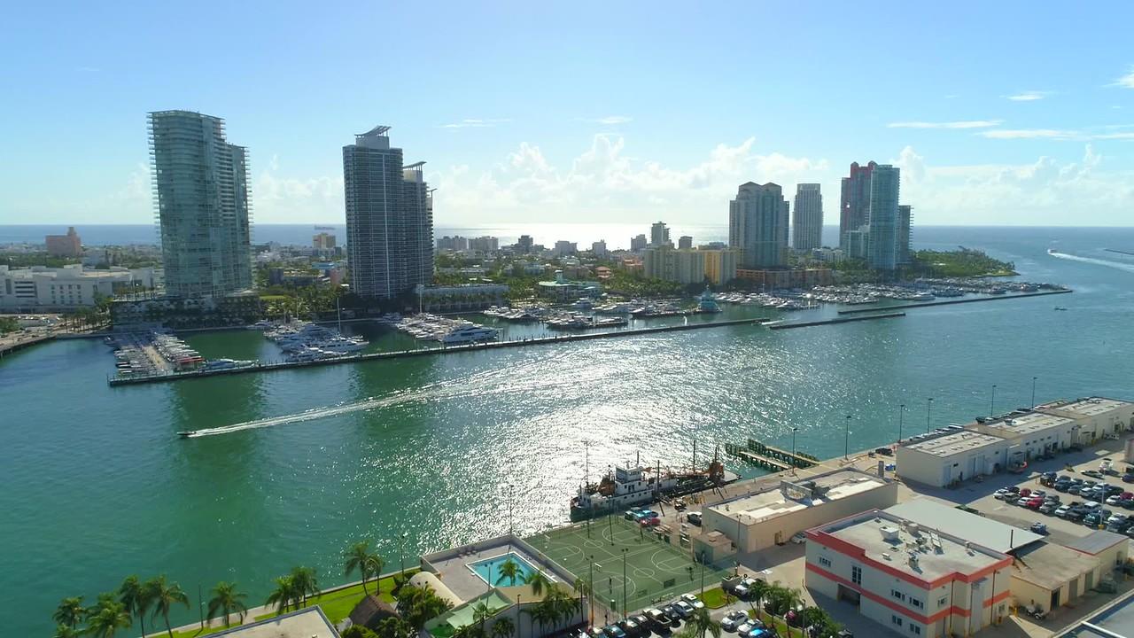 Aerial video Miami Beach Marina 4k 60p