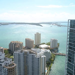 Aerial video Brickell Key buildings on the Miami River 4k