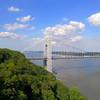 Aerial footage Washington Bridge New York