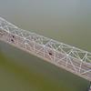 Aerial shot George Rogers Clark Memorial Bridge 4k