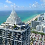 Blue and Green Diamond Miami Beach aerial flyover 4k 24p