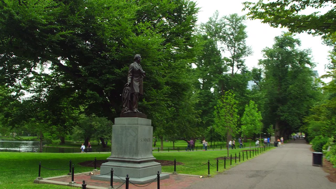 Motion video Charles Sumner Statue Boston Common Park