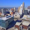 Aerial video downtown Cincinnati Ohio