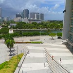 Drone video American Airlines Arena approaching Museum Park 4k