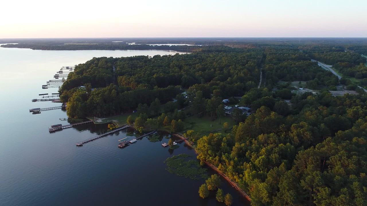 Aerial video lakefront homes in South Carolina 4k