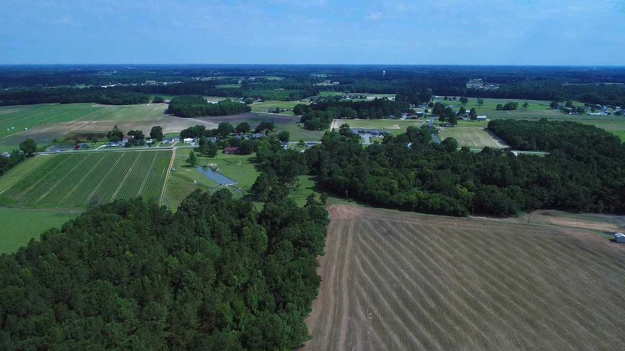 Aerial north Carolina rural farmland landscape 4k