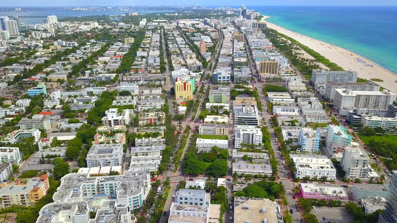 Aerial flyover Miami Beach