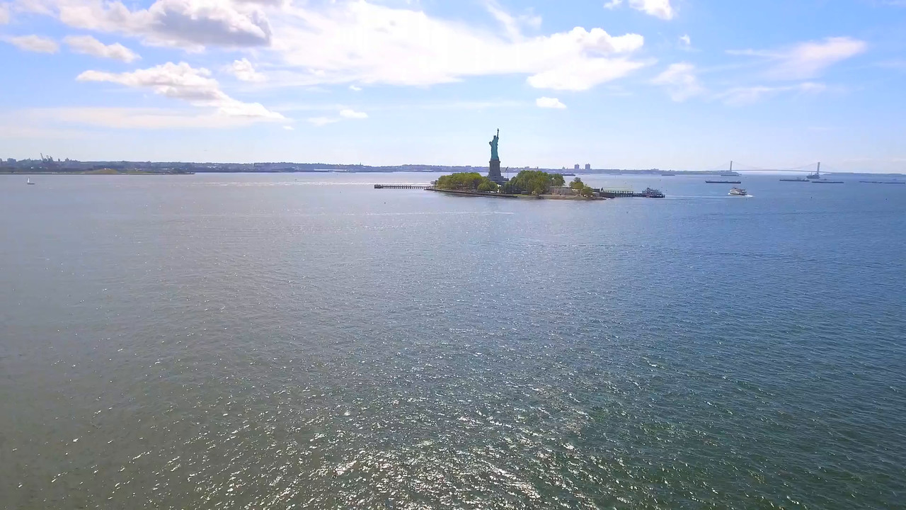 Aerial video of the Statue of Liberty NY