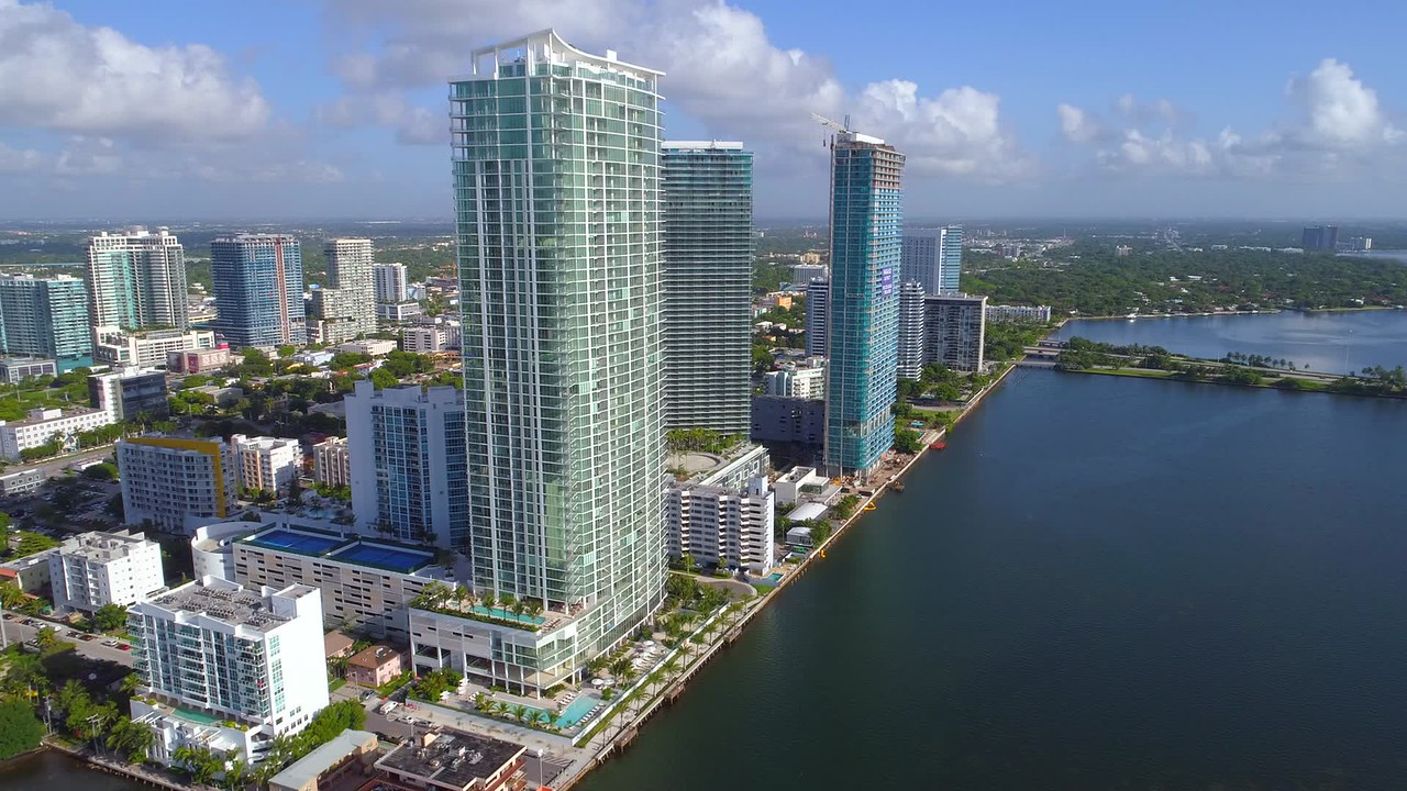 Aerial video Downtown Miami Edgewater Paraiso District